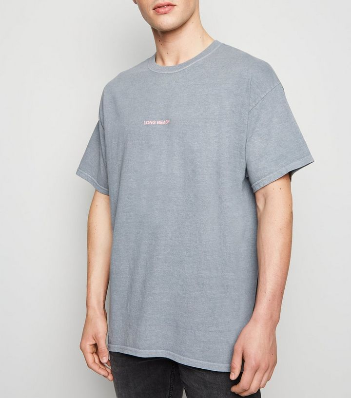 37108a2608 Grey Oversized Long Beach Slogan T-Shirt Add to Saved Items Remove from  Saved Items