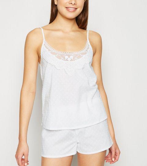 279184823 White Dot Embroidered Lace Trim Pyjama Set ...
