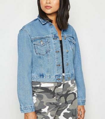 Petite Pale Blue Boxy Denim Jacket