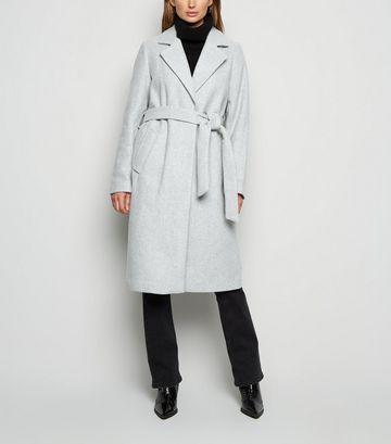 Pale Grey Longline Belted Coat