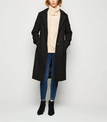 Black Belted Brushed Long Coat | New Look