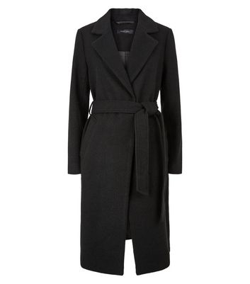 Black Belted Brushed Long Coat   New Look