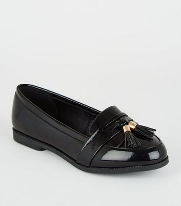 Wide Fit Black Patent Tassel Loafers