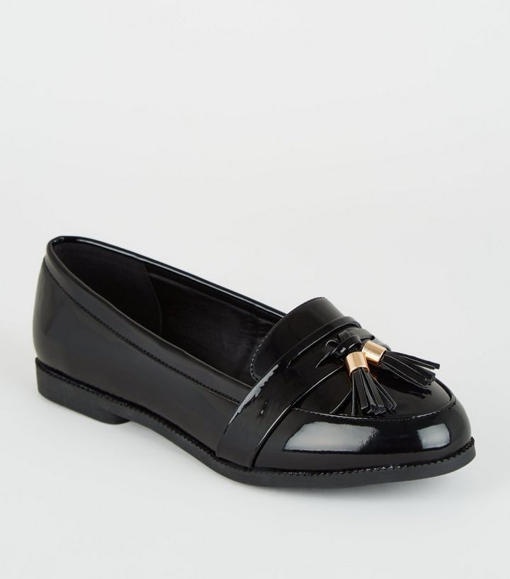 c372f5c83 Wide Fit Black Patent Tassel Loafers | New Look
