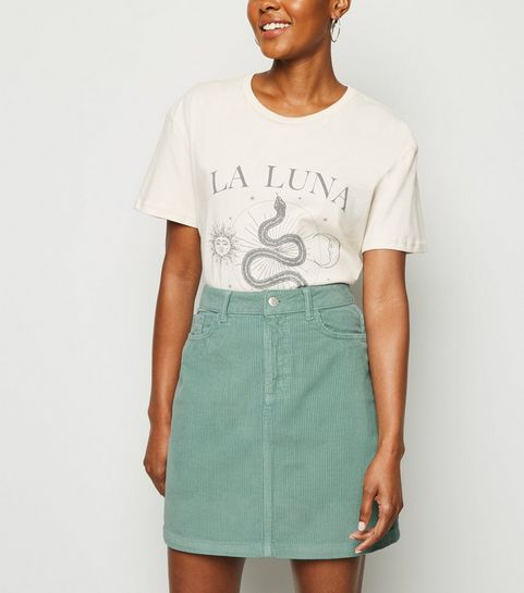 edd7e980f ... Light Green Pocket Corduroy Mini Skirt ...