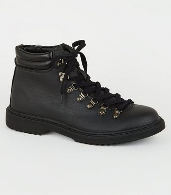 Black Leather-Look Combat Hiker Boots