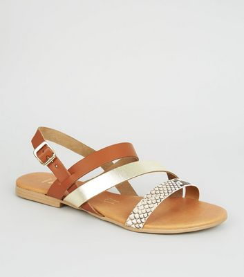 Wide Fit Tan Leather Asymmetric Strap Sandals