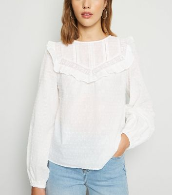 White Spot Frill Trim Long Sleeve Blouse