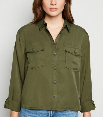 Khaki Long Sleeve Utility Shirt