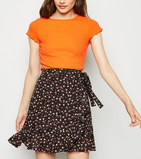 71599bd01fa3 ... Black Ditsy Floral Ruffle Trim Mini Skirt ...