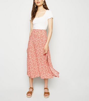 Red Floral Side Split Midi Skirt