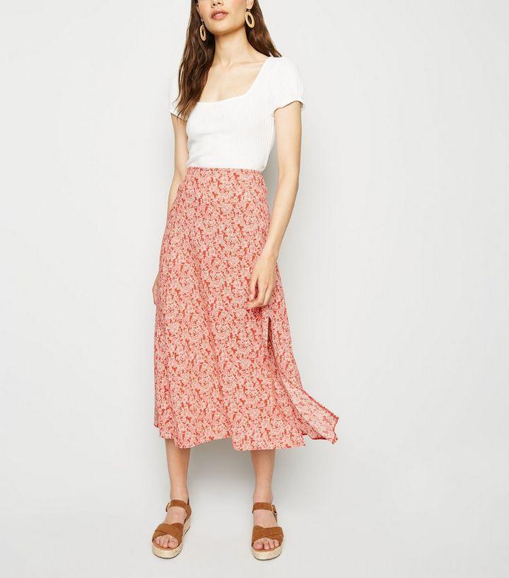 51b7da821 Red Floral Side Split Midi Skirt   New Look