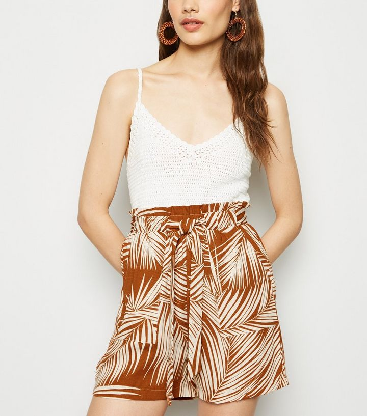 matching in colour purchase original beautiful and charming Brown Palm Print High Tie Waist Shorts Add to Saved Items Remove from Saved  Items