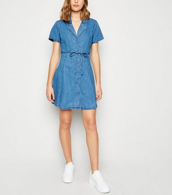 Pale Blue Denim Collared Tea Dress