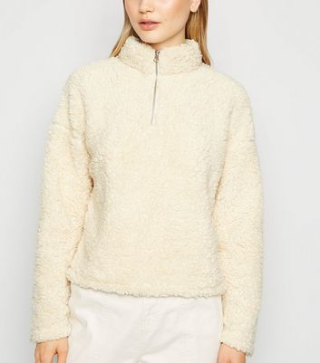 Cream Teddy Half Zip Sweatshirt