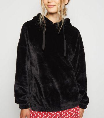 Black Faux Fur Hoodie