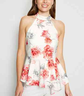 White Floral High Neck Peplum Top