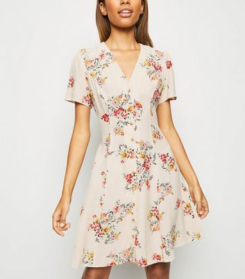 Off White Floral Button Up Tea Dress
