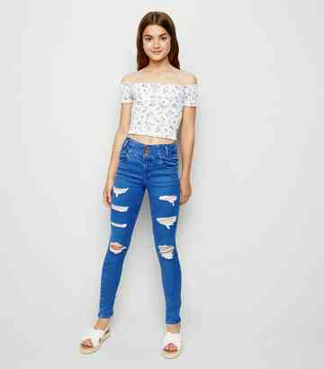 Girls Bright Blue Ripped Skinny Jeans
