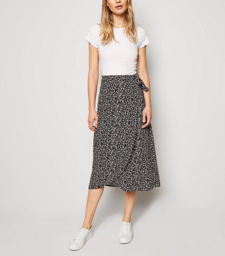 a9ca4f7c8c7945 Black Leopard Print Wrap Midi Skirt | New Look