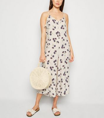 Off White Floral Wide Leg Jumpsuit