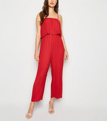 Red Tiered Pleated Jumpsuit