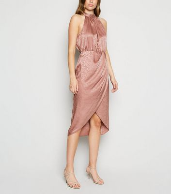 Pale Pink Satin Leopard Jacquard Midi Dress