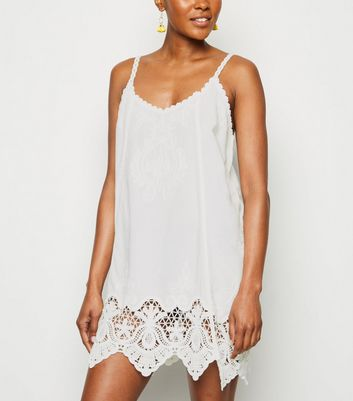 White Crochet Swing Beach Dress