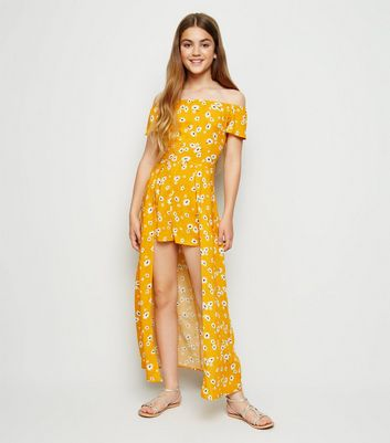 Girls Mustard Daisy Maxi Playsuit