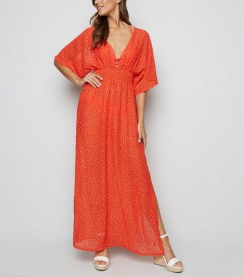 Red Spot Split Hem Maxi Beach Dress