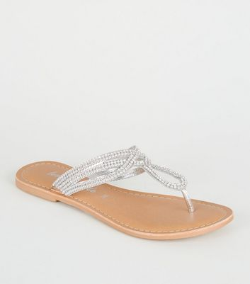 Silver Leather Diamanté Flip Flops
