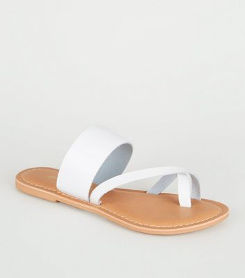 White Leather Toe Loop Strappy Sliders