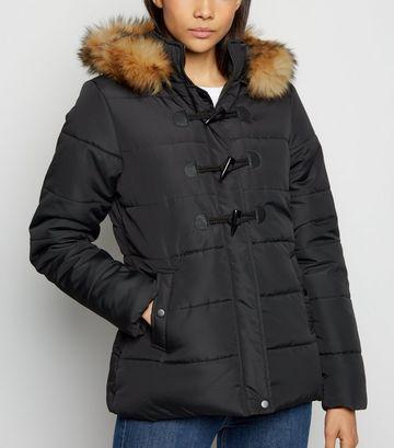 Black Faux Fur Trim Duffle Puffer Jacket