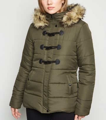 Khaki Faux Fur Trim Duffle Puffer Jacket