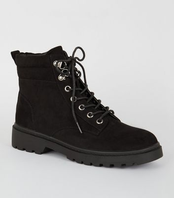 Black Suedette Chunky Hiker Boots by New Look