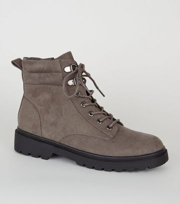 Grey Suedette Chunky Hiker Boots