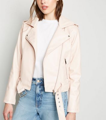 Pale Pink Leather-Look Belted Biker Jacket