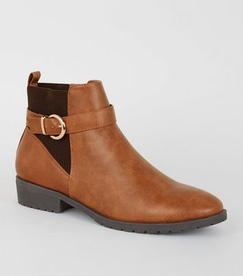 Tan Leather Look Chelsea Boots by New Look