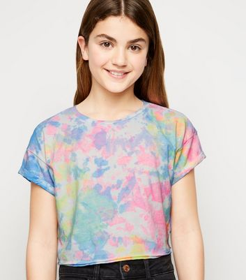 Girls Multicoloured Neon Tie Dye T-Shirt