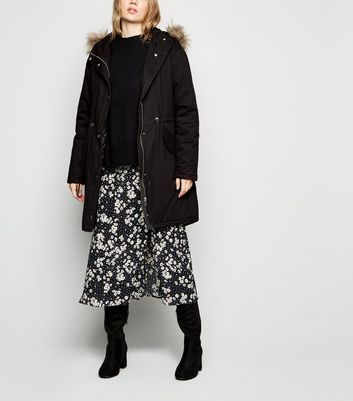 Black Cotton Faux Fur Trim Parka by New Look