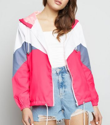 Pink Vanilla Bright Pink Neon Chevron Shell Jacket