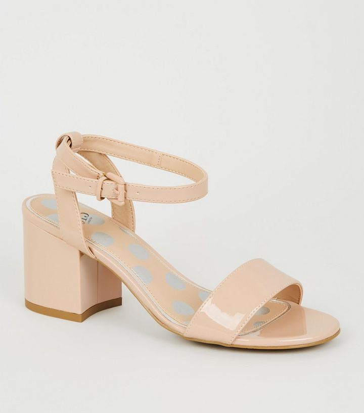 0895f1065ac Girls Nude Patent Block Heel Sandals Add to Saved Items Remove from Saved  Items