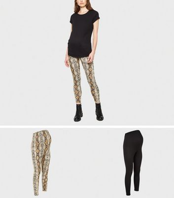 Maternité - Lot de 2 leggings noirs à imprimé peau de serpent