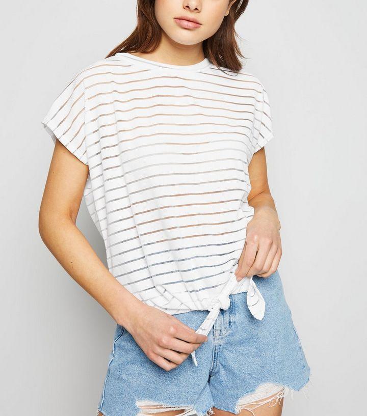 8654d625c2 White Stripe Mesh Tie Front T-Shirt | New Look