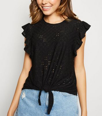 Black Broderie Frill Trim Tie Front T-Shirt