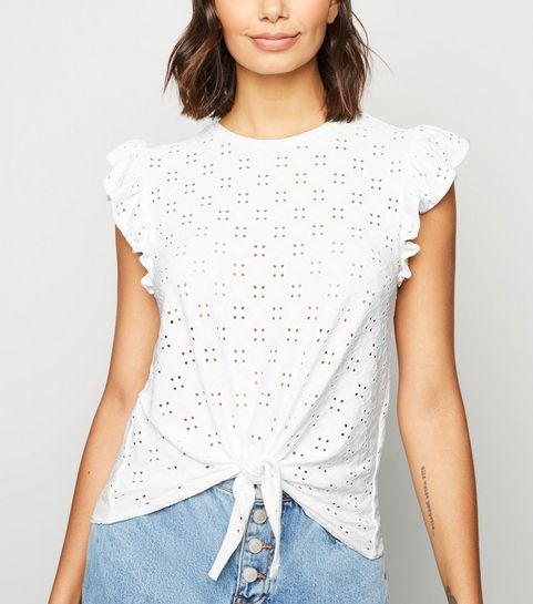 fb2fcab41f6add ... White Broderie Frill Trim Tie Front T-Shirt ...