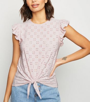Pink Broderie Frill Trim Tie Front T-Shirt