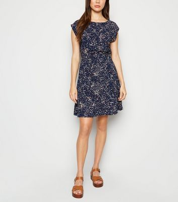 Apricot Navy Abstract Print Mini Dress