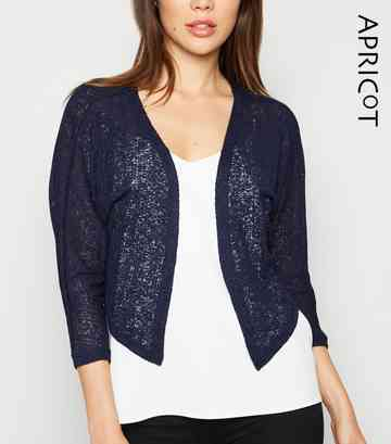 Apricot Navy Mesh Knit Shrug