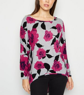 Apricot Pink Floral Batwing Jumper